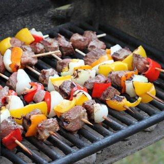 Tasty venison kebabs