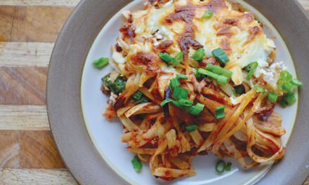 Baked spaghetti with bison