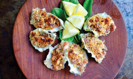 Roasted oysters with garlic toasted breadcrumbs, bacon and parmesan