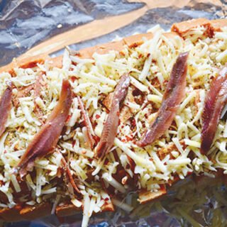 Pull-apart salami and anchovy bread