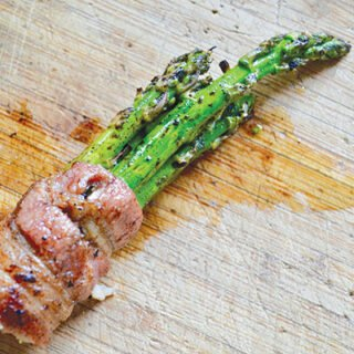 Bacon-wrapped grilled asparagus bundles with balsamic glaze