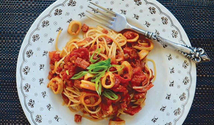 Squid and salami spaghetti