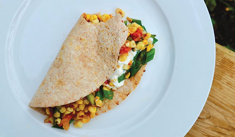Charred corn and asparagus tacos
