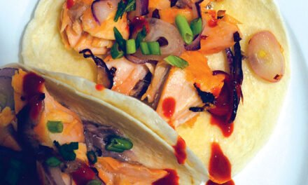 Salmon tacos with chili honey