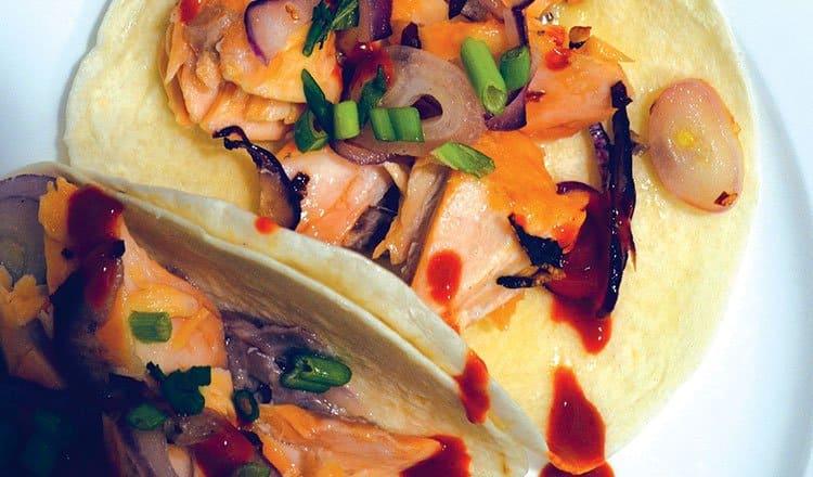 Salmon tacos with chili honey