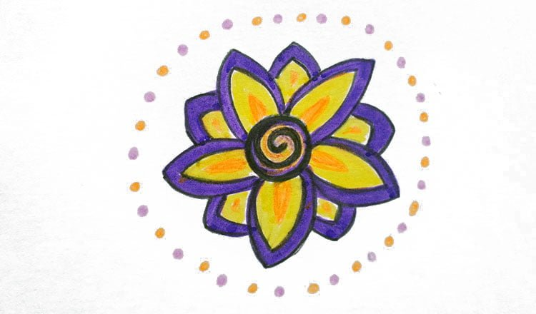 Drawing flowers in complementary colours