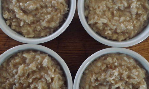 Coconut brown sugar rice pudding