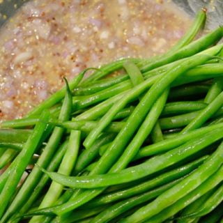 Green beans with eggs and shallot vinaigrette