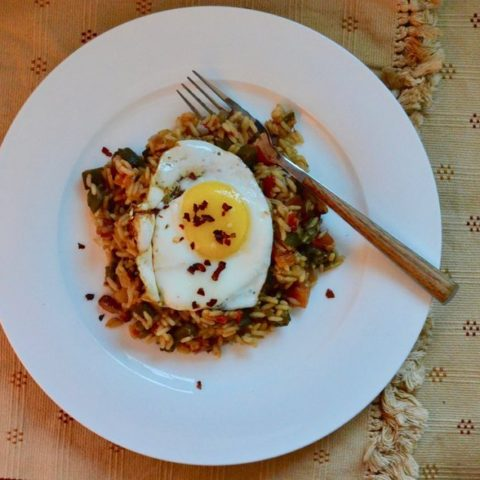 Okra and bacon rice pilaf
