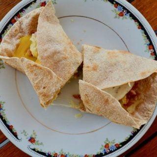 Eggy bacon rice wrap