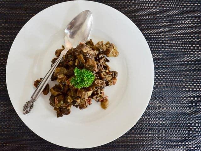 Braised sausage and okra
