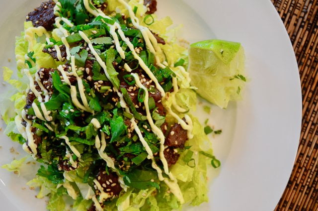 Soy and ginger marinated steak salad