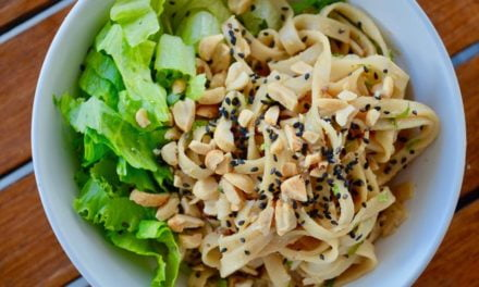 Cold ginger peanut noodles