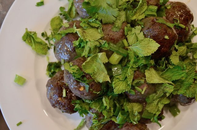 Meatballs with cilantro, ginger and fish sauce