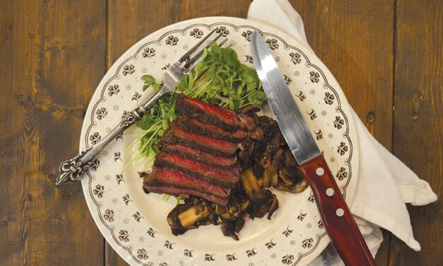 Bourbon-marinated steak with mushrooms and thyme