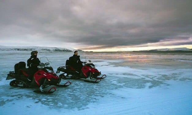 Snowmobile ice travel