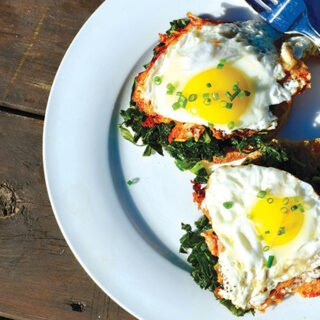 Parmesan eggs and wilted kale