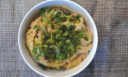 Peanut noodles with napa cabbage