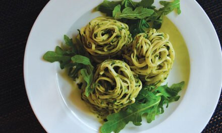 Linguine with herb battuto