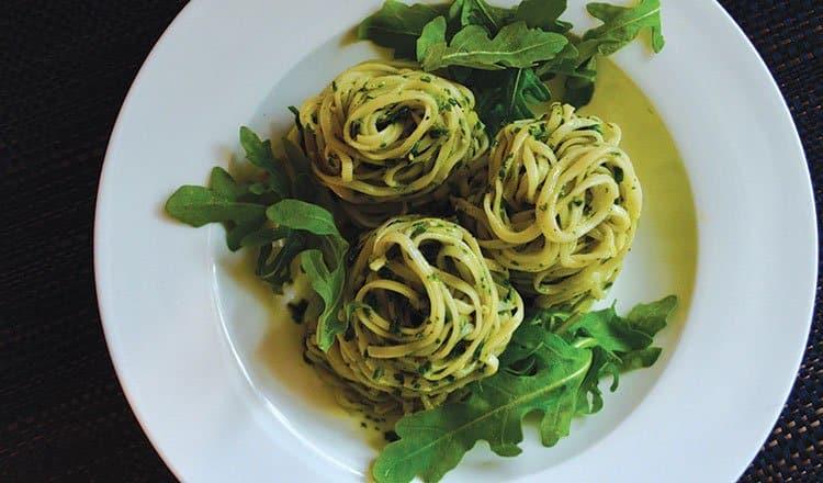 Linguine with herb battuto