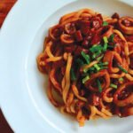 Bucatini with red wine braised squid and pepperoni