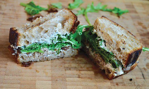 Duck, Boursin, and arugula sandwiches