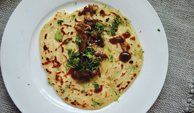 Simple shredded duck with hoisin and scallion pancakes