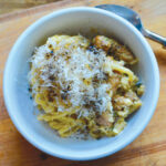 Linguine with parmesan, black pepper, breakfast sausage and eggs