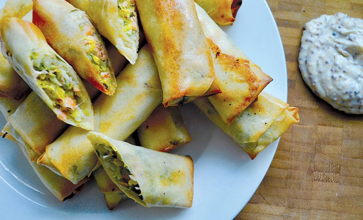 Brussel trout spring rolls