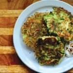 Broccoli pancakes with garlic, oregano and chili flakes