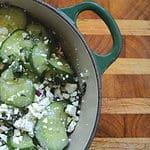 Cucumber, feta, mint, and red onion salad
