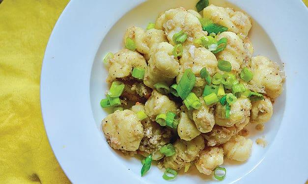 Potato gnocchi with crab, scallions & grapefruit